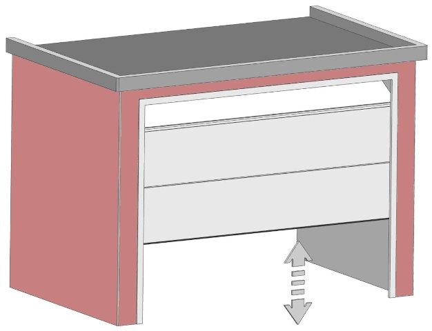Illustration eines Sektional-Tors in Halböffnung