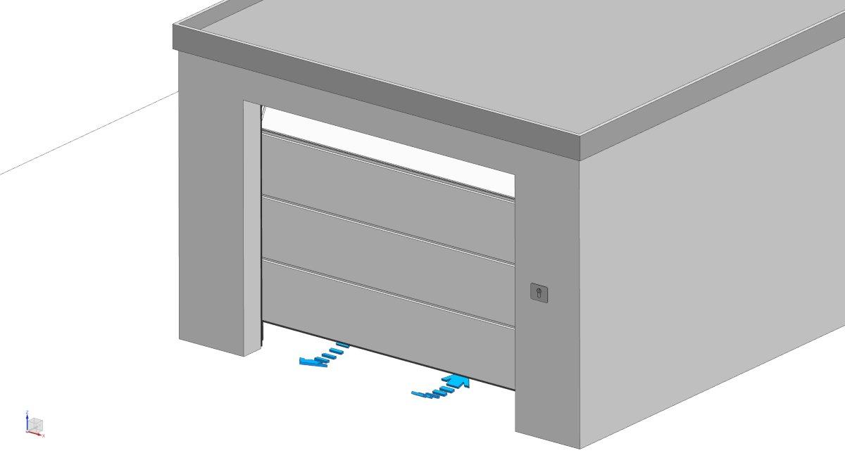 Zeichnung eines Sektionaltors mit Teilöffnung