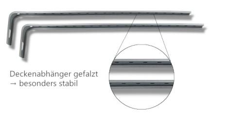 2 Deckenabhängungen für die Antriebsschiene mit Nahhaufnahme des Falzes