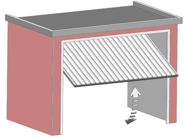 Das Sektionaltor hat einen Schwenkbereich und damit einen größeren Platzbedarfr