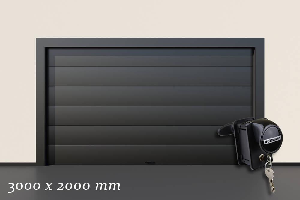 Garagentor Schartec Thermolux 40 in anthrazit 3000 x 2000 handbetätigt