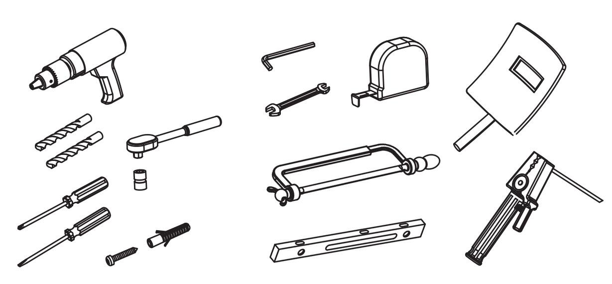 Werkzeuge die man zum Einbau des Drehtorantriebs benötigt