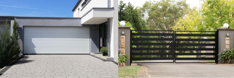 Links ein Garagen-Sektionaltor. Rechts ein Drehtor oder auch Flügeltor. Ein Flügeltor ist nicht für den Einbau eines Garagentorantriebs geeignet.