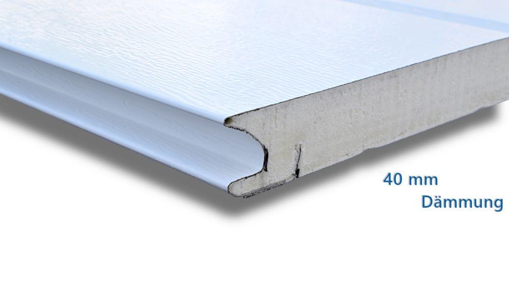 Garagentor-Sektion Querschnitt mit 40 mm Dämmung